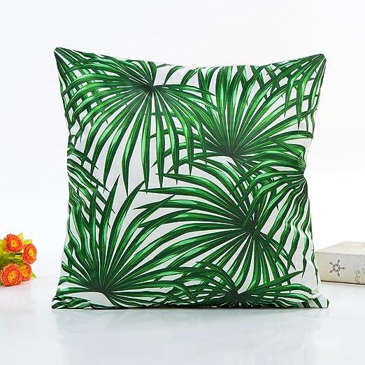 Aubess Almofadas - Funda de cojín para primavera y verano, diseño de plantas verdes, 4 estilos