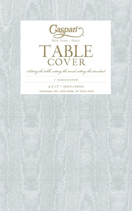 Merveilleux Caspari Moire Printed Paper Table Cover, 54 By 84 Inch, Platinum