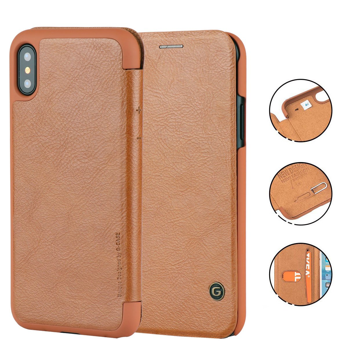 iPhone X Case, G-CASE [Business] Ultra Slim Folio Flip Leather Wallet Case 360 Degree Full Body Protection Case With Card Slot for ID/Card/Cash for Apple iPhone X (Khaki)