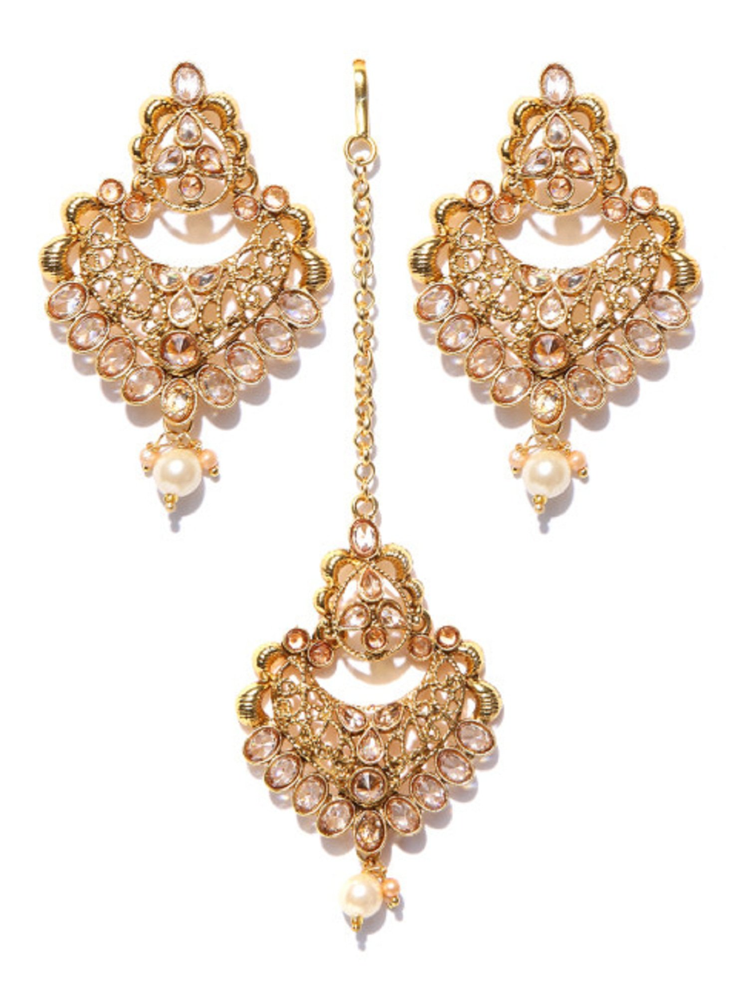 Bollywood Style Fashionable Gold Plated Earrings With Maang-Tikka