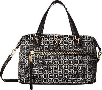 c880753648 Amazon.com: Tommy Hilfiger Women's Shannon Satchel Black/White One Size:  Shoes