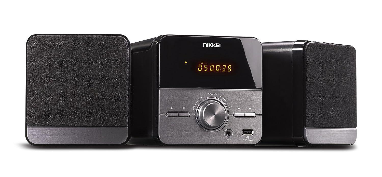 Nikkei nmc306–Microcadena Hi-Fi con Radio, Reproductor de mp3, CD, USB, Entrada Auxiliar y Mando a Distancia Gris/Negro