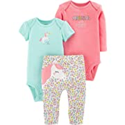Carter's Baby Girls' 3-Piece Little Character Sets (Pink/Mint Unicorn, 3 Months)