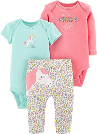 c427703a7 Carter's Baby Girls' 3-Piece Little Character Sets (Pink/Mint Unicorn,
