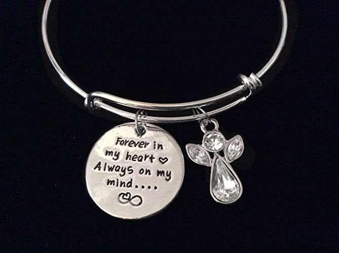 d026a389f32ca Crystal Guardian Angel Forever in My Heart Always On My Mind Silver  Expandable Charm Bracelet Adjustable Wire Bangle Gift