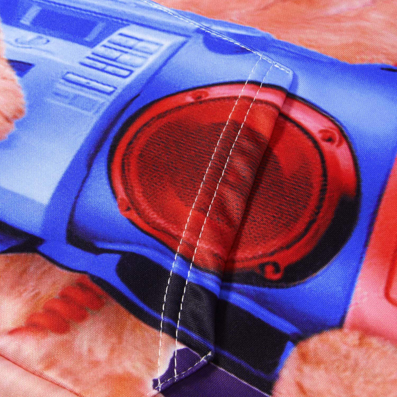 Loveternal Unisex 3D Music Cat Printed Pullover Hoodie Baseball Sweatshirt with Kangaroo Pouch XXL