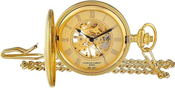 Charles Hubert 3861-G Gold-Plated Mechanical Pocket Watch