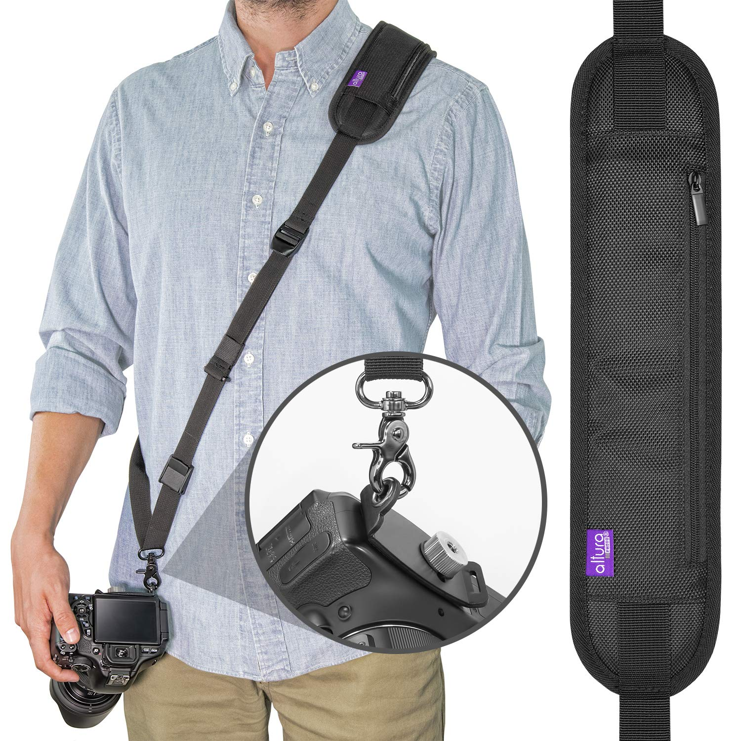 Altura Photo Rapid Fire Camera Neck Strap w/Quick Release and Safety Tether by Altura Photo