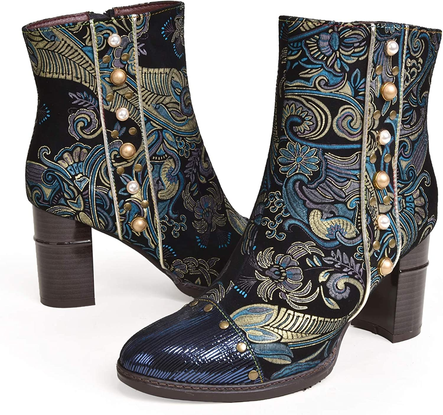 Charmstep Women's Leather Ankle Bootie Retro Handmade Bohemian Splicing Pattern High Block Heel Cowgirl Booties Zipper Snow Boots Blue