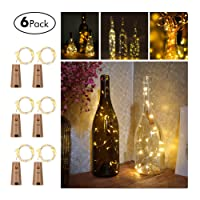 FairyDecor Wine Bottles String Micro Artificial Cork Copper Wire Starry Fairy, Battery Operated Lights for Bedroom, Parties, Wedding, Decoration(6 Packs 2m/7.2ft Warm White)