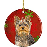 Red Snowflakes Holiday Christmas Yorkie/Yorkshire Terrier Ceramic Ornament KJ1184CO1