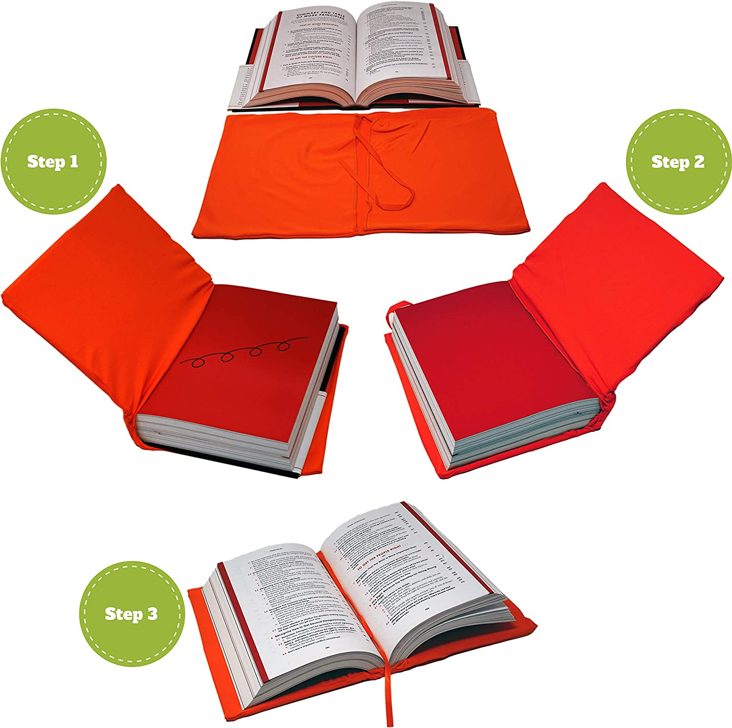 Jumbo Book Covers Set of 3 Solid Colors and Red /& 2 Bookmarkers Lime Black