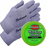 Hand Cream for Dry Cracked Hands and Hand Repair Gloves Bundle: O'Keeffe's Working Hands Cream (Unscented, Non-Greasy 3.2 oz.