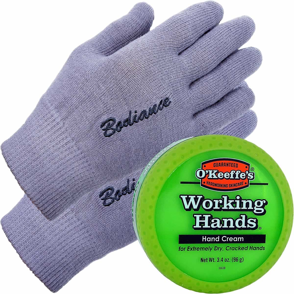 Hand Cream for Dry Cracked Hands and Hand Repair Gloves Bundle: O'Keeffe's Working Hands Cream (Unscented, Non-Greasy 3.2 oz.), Gel Moisturizing Gloves Men or Women (1 pair, Gray, Unscented) by Bodiance