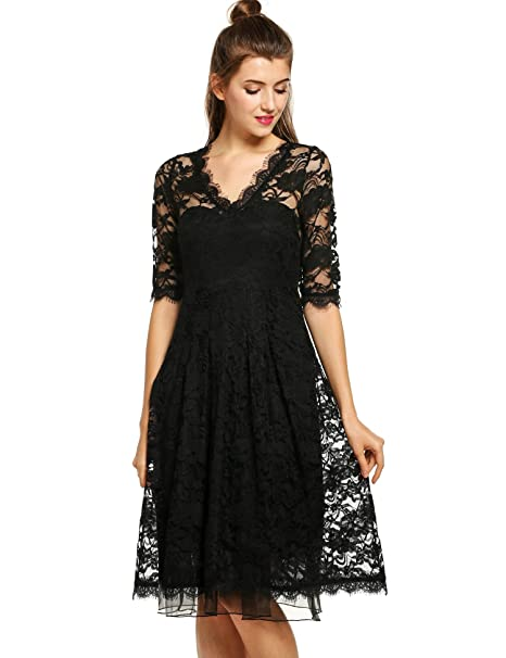1fa4aefe84 ANGVNS Womens Lace Dress Sexy V-neck Half Sleeve A-line Elegant Formal Party