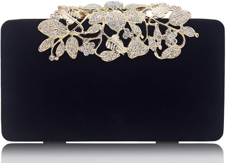 Womens Evening Bag with Rhinestone Crystal Flower Closure Velvet Clutch Purse for Wedding Party Black