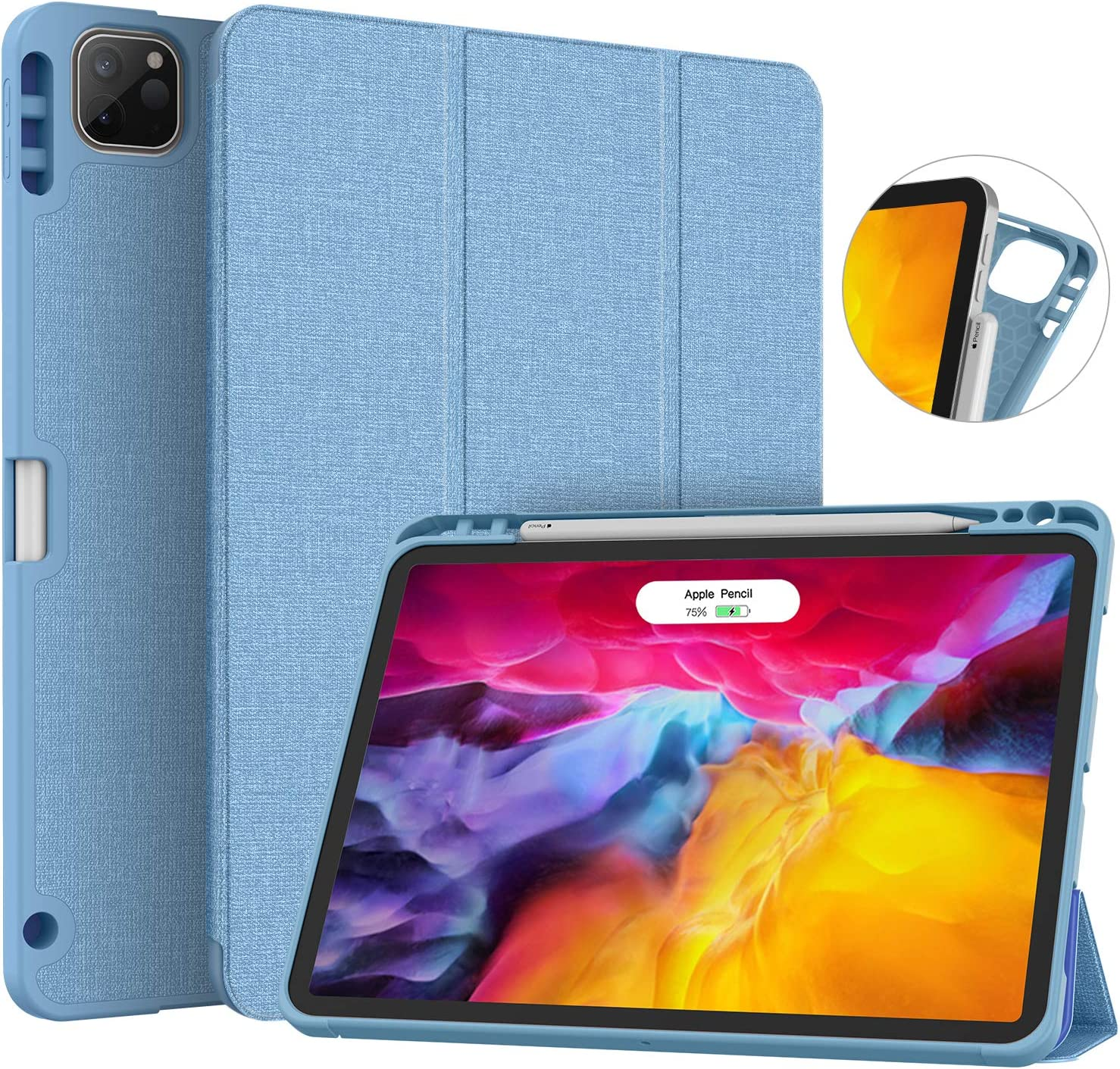 Soke New iPad Pro 11 Case 2020 & 2018 with Pencil Holder - [Full Body Protection + Apple Pencil Charging + Auto Wake/Sleep], Soft TPU Back Cover for 2020 iPad Pro 11 inch(LightBlue)