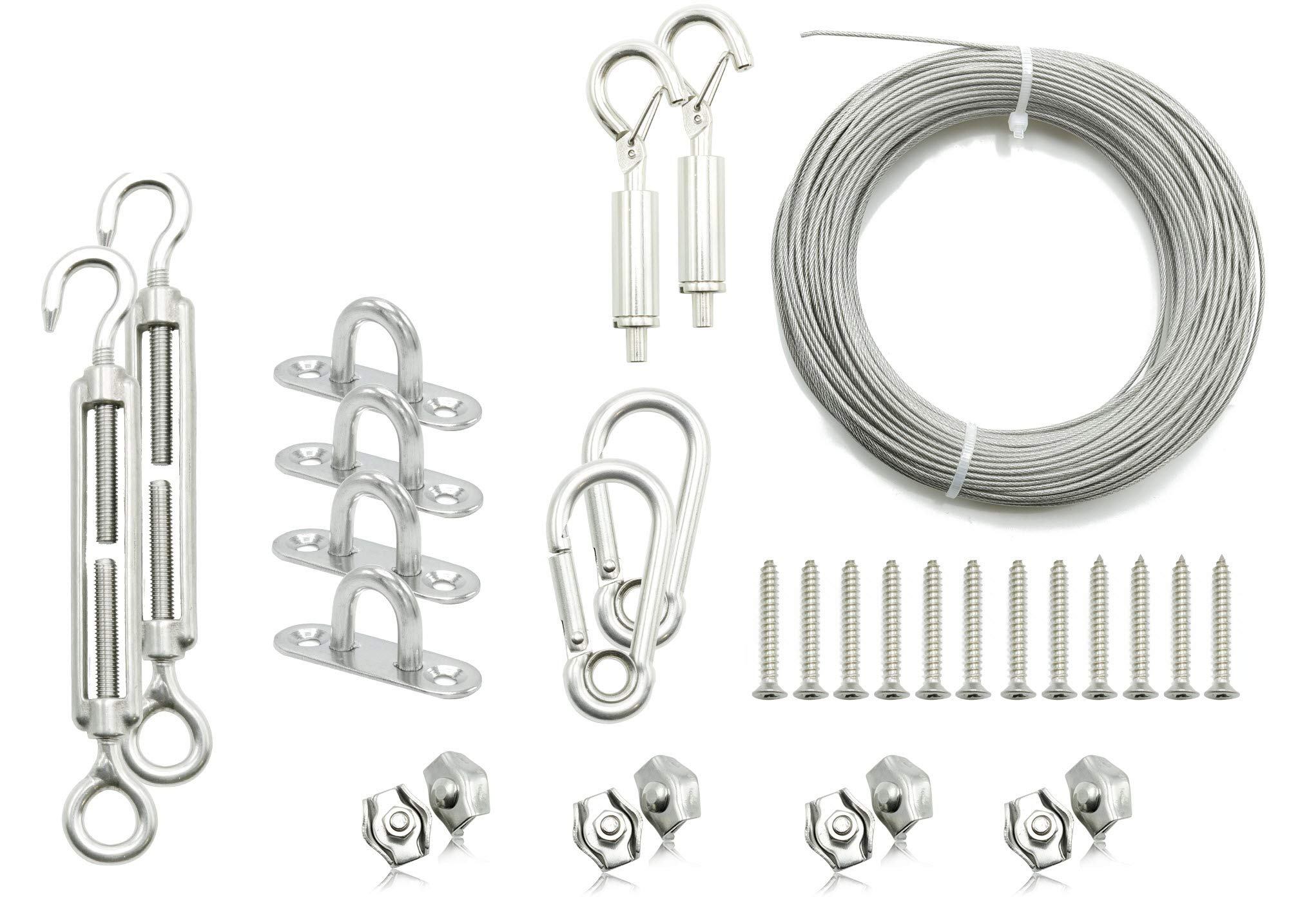 Lofty Fair Stainless Steel String Globe Light Suspension Kit, Outdoor Light Guide Wire Hanging Kit 110 ft. with Turnbuckles and Hooks - Free 2 Pieces Gripper & 4 Pieces Screws
