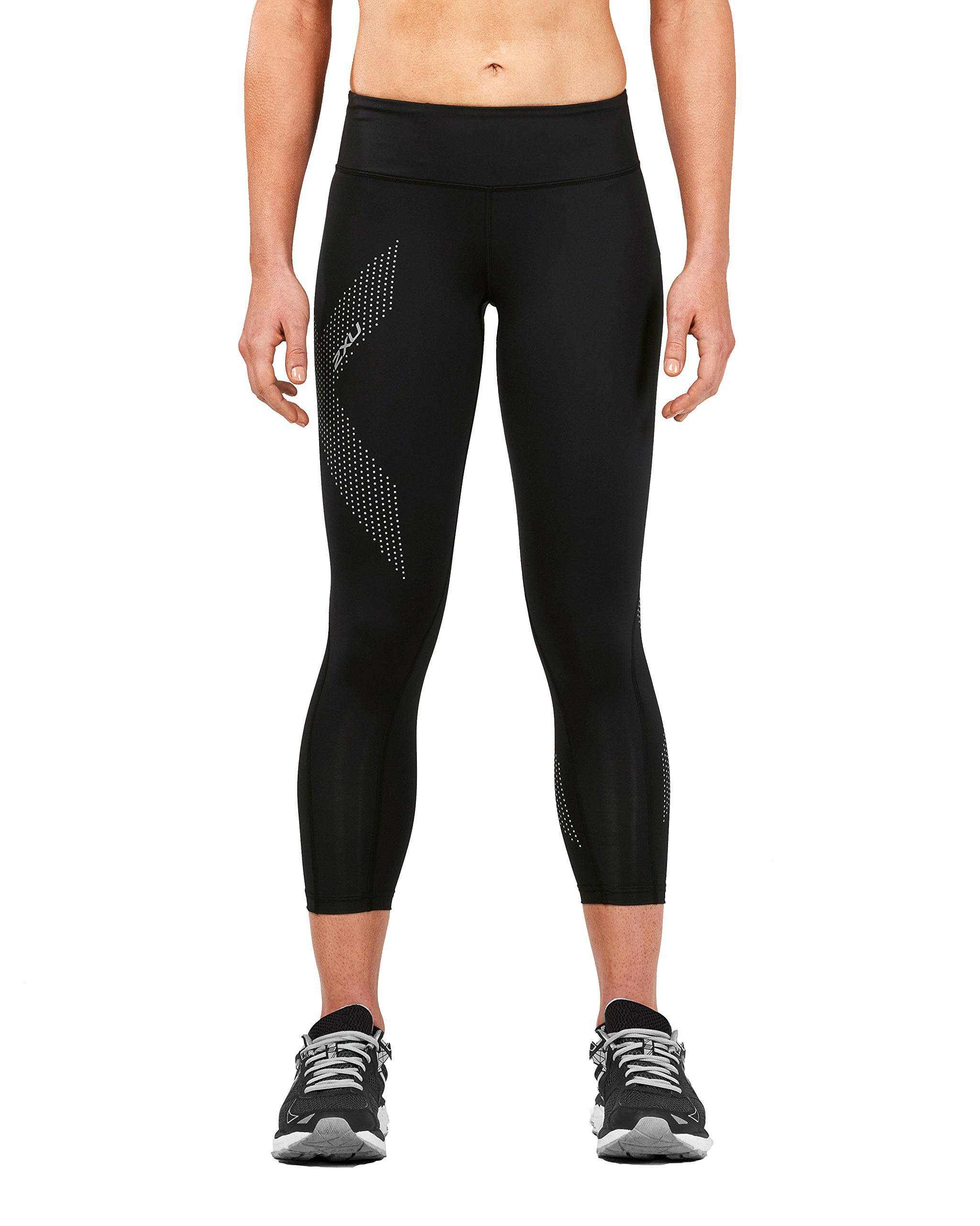 2XU Women's Mid-Rise Compression 7/8 Tights (Black/Dotted Reflective Logo, Small) by 2XU (Image #2)