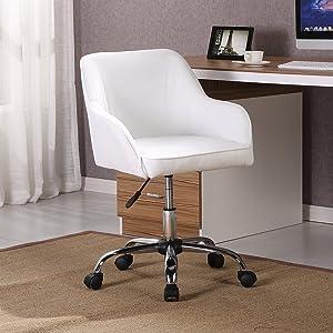 Belleze Mid Back Desk Task Office Chair Padded Seat Lumbar Support Velvet Fabric Adjustable Height, White