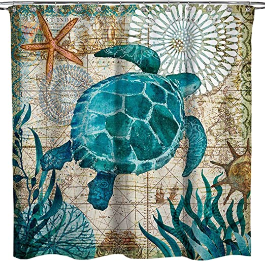 Sea Turtle Ocean Scenery Shower Curtain Bathroom Waterproof Fabric 12 Hook 71/""
