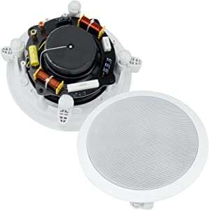 Dual 6-Inch in-Wall/in-Ceiling 2-Way Stereo Sound Speaker with 1