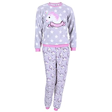 Grey Pink Long Sleeved Top   Bottoms Pyjama Set For Ladies UNICORN Love To  Lounge d98318880