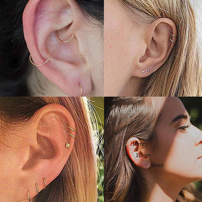 Thunaraz 24Pcs 20G Stainless Steel Nose Rings Hoop Septum Ring Tragus Cartilage Helix Piercing Lip Ring 6-12MM
