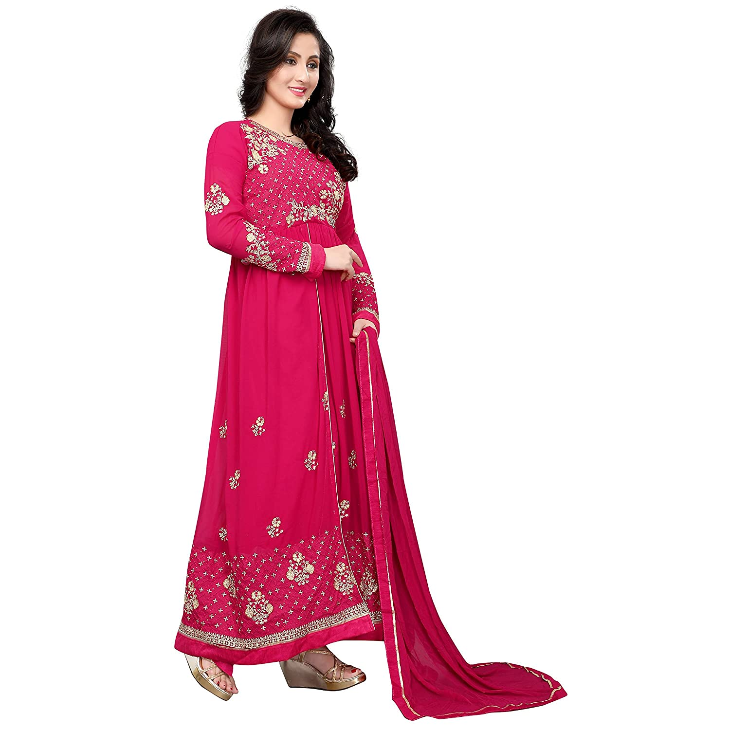 d1eecd1730 Aryan Fashion Women s Semi-Stitched Georgette Anarkali Salwar Suit Set  (Aryan Er10477 Pink Free Size)  Amazon.in  Clothing   Accessories