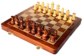 StonKraft 14 x 14 Collectible Wooden Folding Chess Game Board Set+Wooden Magnetic Crafted Pieces