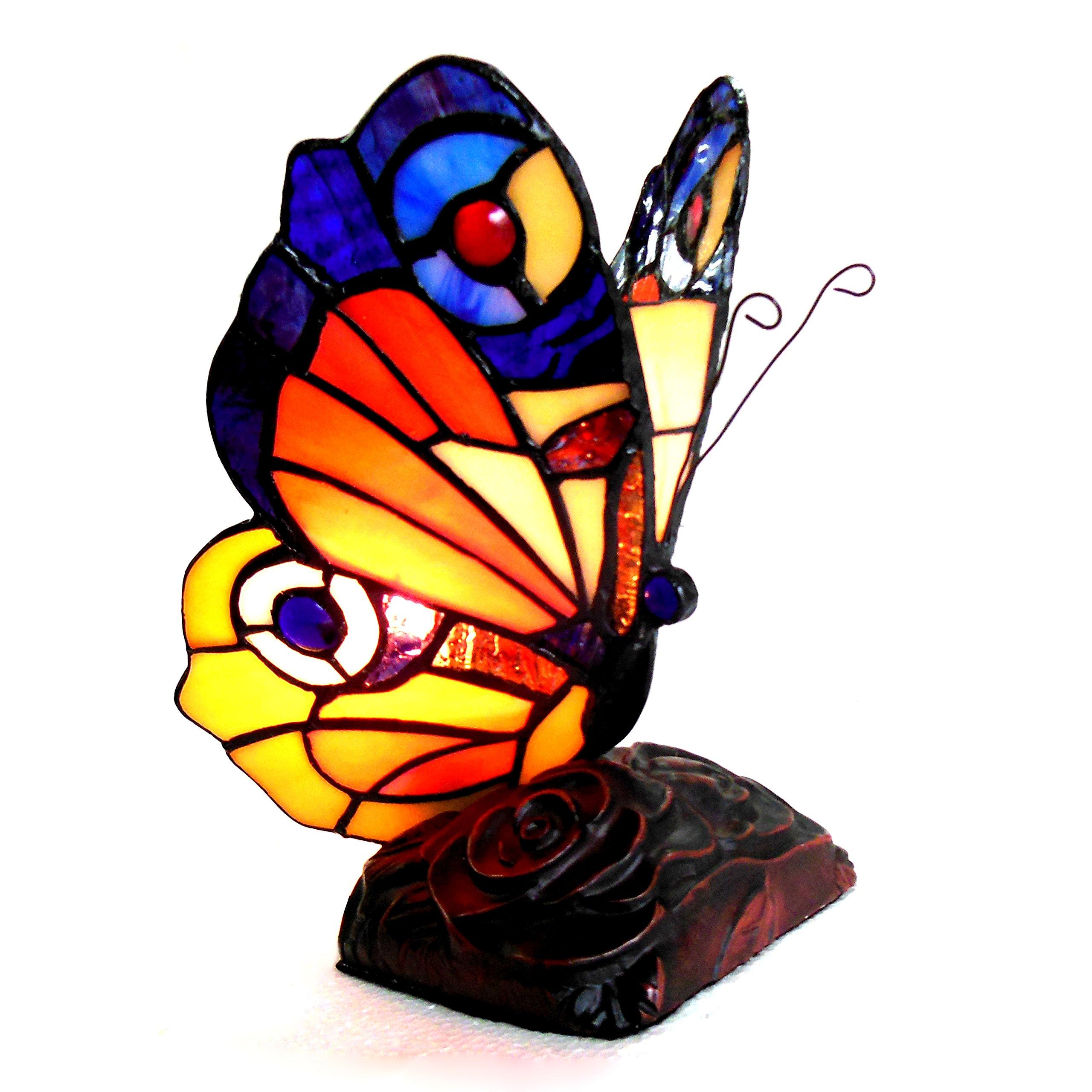 Chloe Lighting CH10809OA09-NL1 9'' Tall Kacy 6 Tiffany-Style 1 Butterfly Accent Table Lamp
