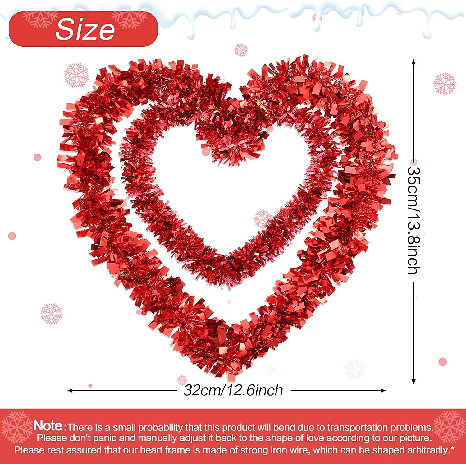 Valentine Wreath Decoration Red Tinsel Heart Wreath Artificial Heart Shaped Wreath Valentine Hanging Door Wreath for Valentines Day Wedding Engagement Party Decorations 14 Inch