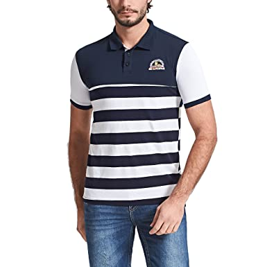 7fe3e95ba Image Unavailable. Image not available for. Colour  Fredd Marshall Men s  Short Sleeve Cotton Striped Embroidered Classic Polo Shirts Golf Tops White  M