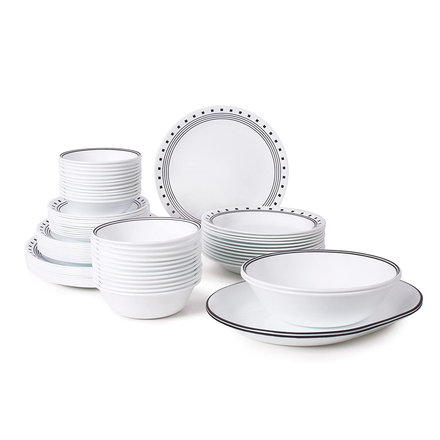Amazon.com | Corelle Livingware 76-Piece Dinnerware Set Service for 12 City Block Dinnerware Sets  sc 1 st  Amazon.com & Amazon.com | Corelle Livingware 76-Piece Dinnerware Set Service for ...