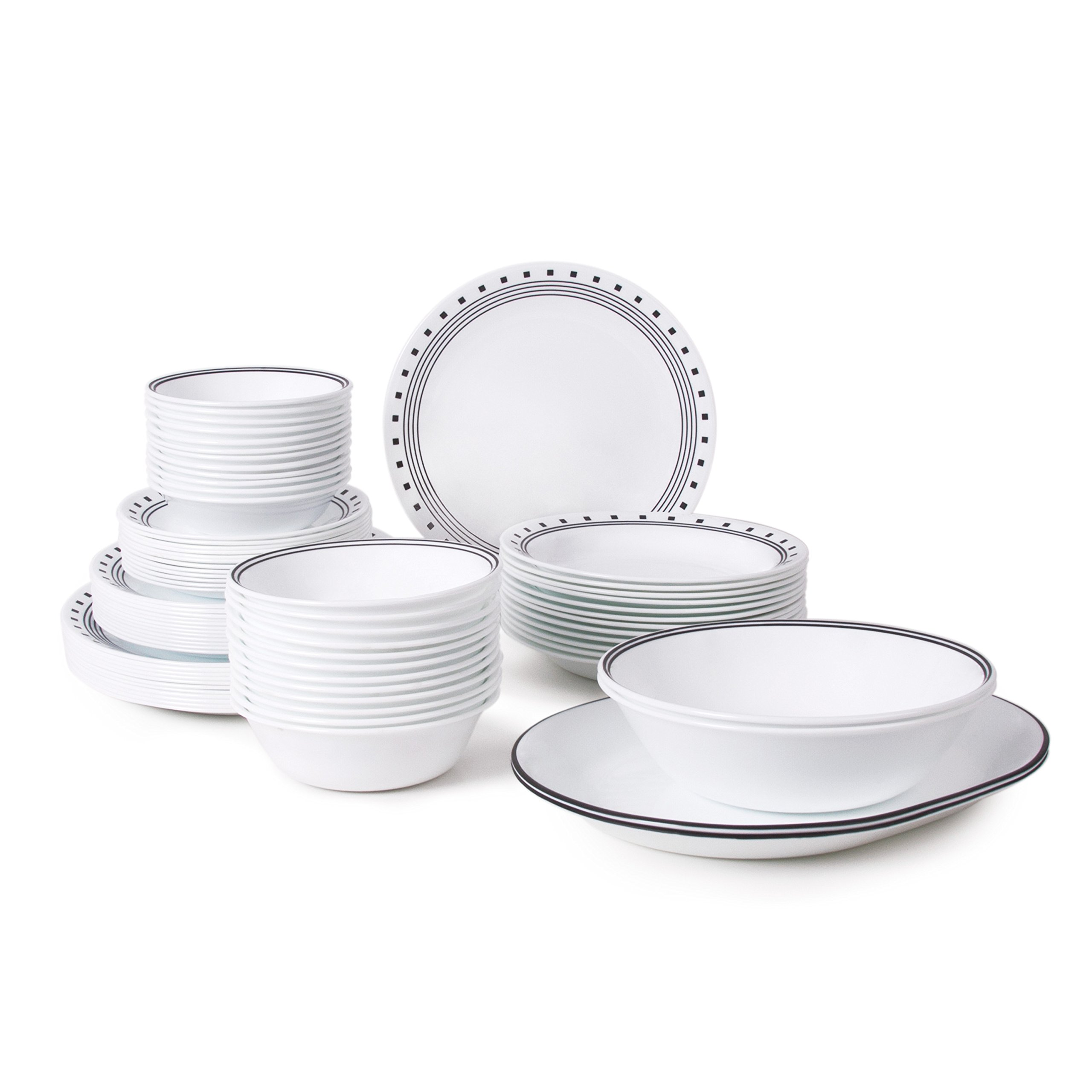 Corelle Livingware 76-Piece Dinnerware Set, Service for 12, City Block by Corelle