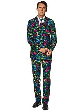 Suitmeister – Floral – Hombres Halloween Trajes Divertidos - Traje Completo: Chaqueta, Pantalones y Corbata
