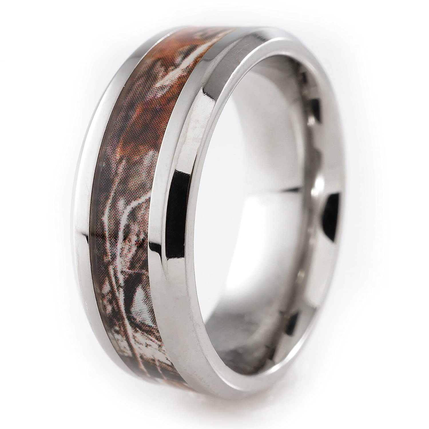 8MM Titanium Camo Inlay Wedding Band