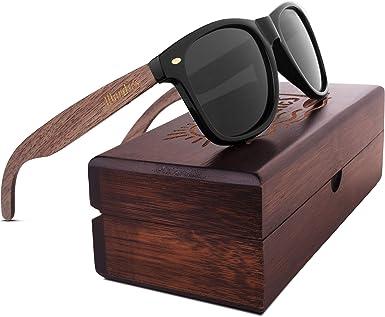 New WOODIES Walnut Wood Polarized Sunglasses w// Black Lens