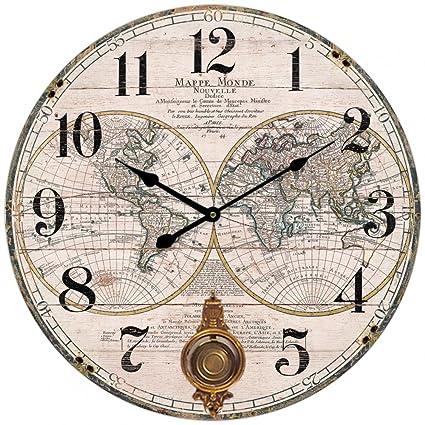 Horloge Murale Ronde Carte Monde Mappemonde Mappe Continent