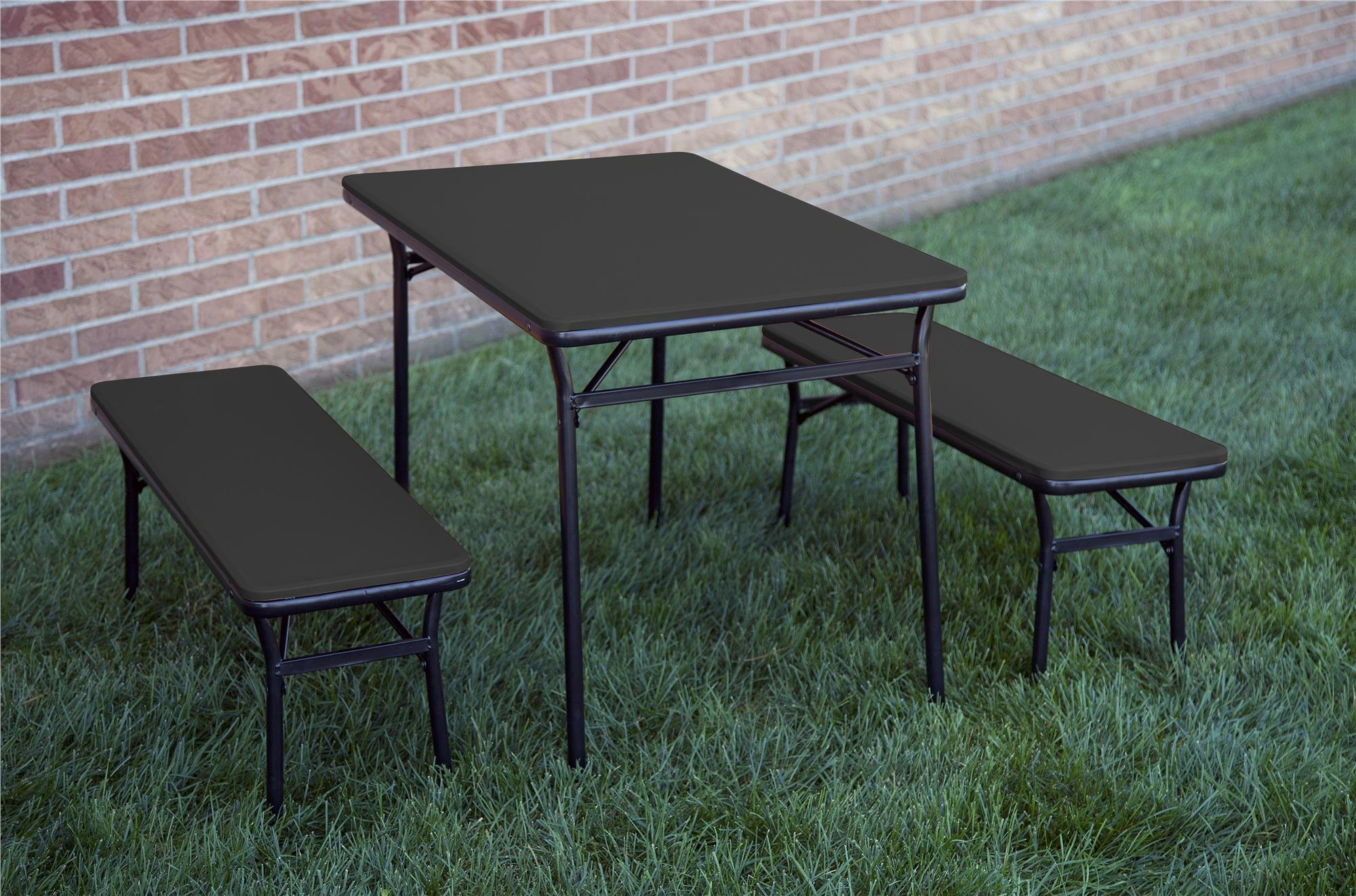 Cosco Products COSCO 3 Piece Indoor Outdoor Table and 2 Bench Tailgate Set, Black by Cosco Products (Image #12)