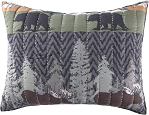 Greenland Home Black Bear Lodge Pillow Sham, Standard, Multicolored