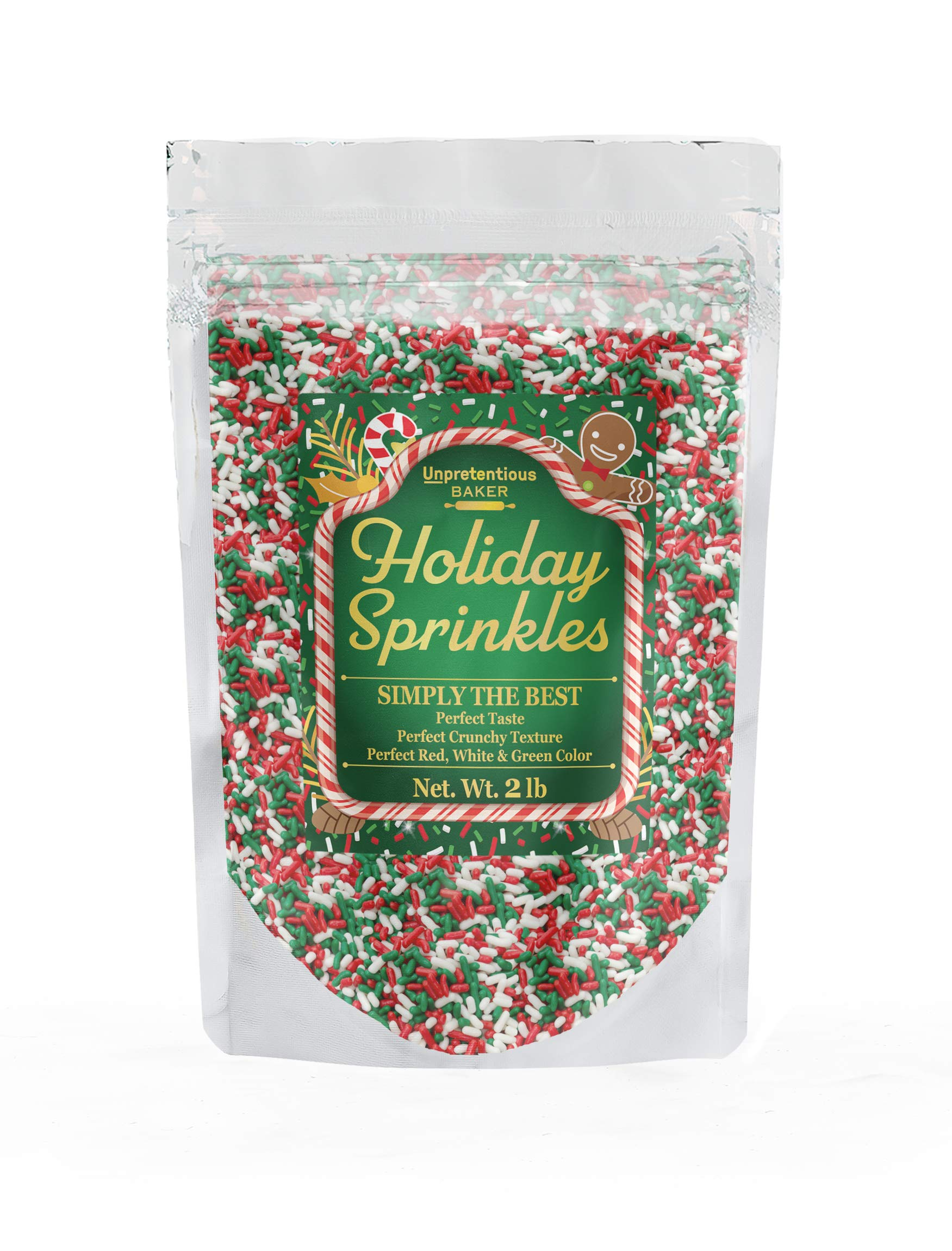 Holiday Sprinkles, 2 lbs. by Unpretentious Baker, Kosher, Gluten Free, Red, White & Green Christmas Sprinkles/Jimmies by Unpretentious Baker
