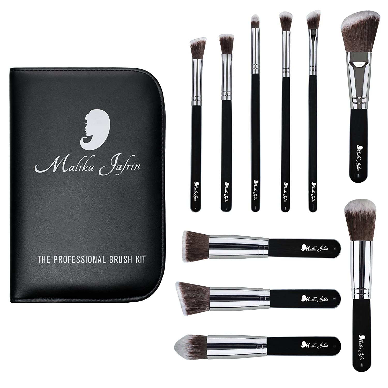 Malika Jafrin, Makeup Brush Set, Premium 10 Piece Professional Kabuki Kit for Your Cosmetic Needs (Face & Eye), Brushes for Foundation (Cream, Powder, & Mineral), Blush, Concealer, Bronzer & More KS 10