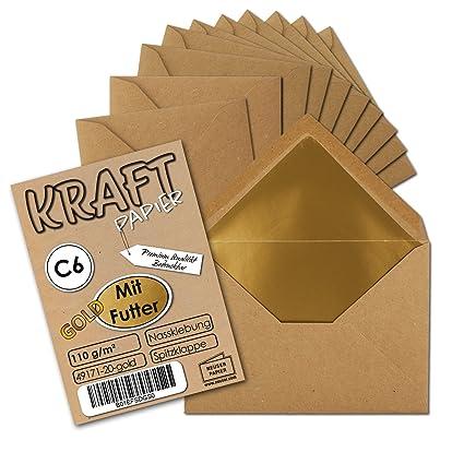 10 Briefumschläge aus Kraftpapier DIN C6 114 x 162 mm Recyclingpapier