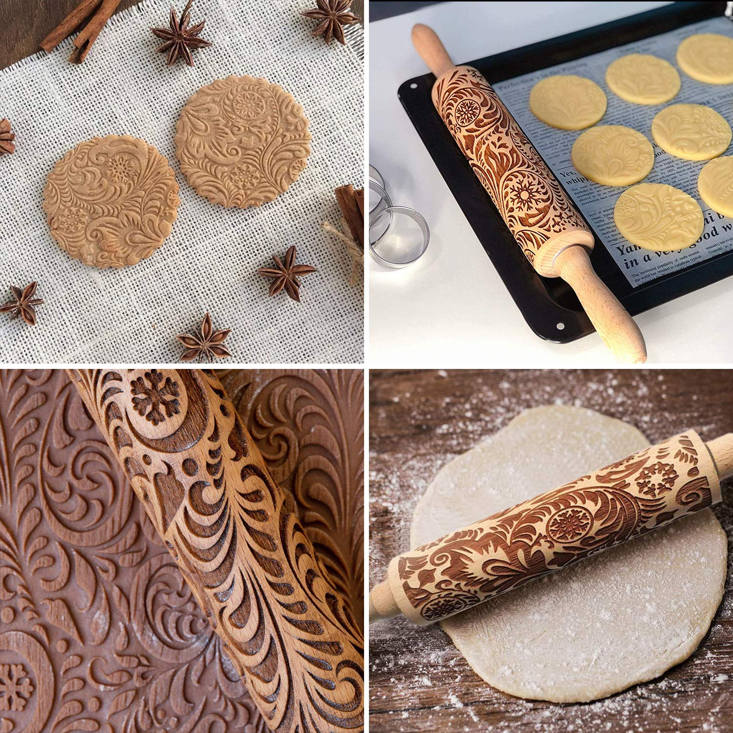 Christmas Rolling pin Embossed 3D Patterned Rolling pin Engraved with Pattern Perfect for Baking with Kids Crusts Dough /& Fondant Cookies Pies /& Pastry Clay Crafts