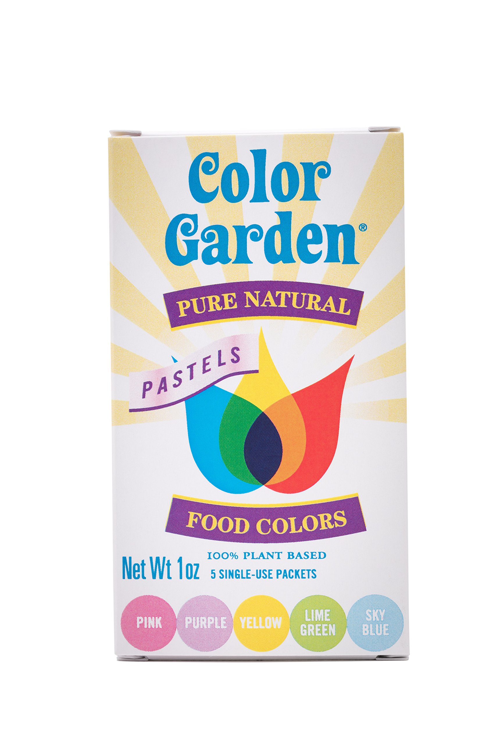 Color Garden Pure Natural Food Colors PASTELS Pack 5 ct