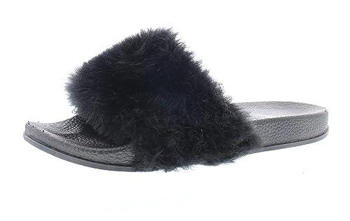 1518ff73bdcbb2 Gold Toe Women s Delora Fluff Faux Fur Slide Sandal Black ...