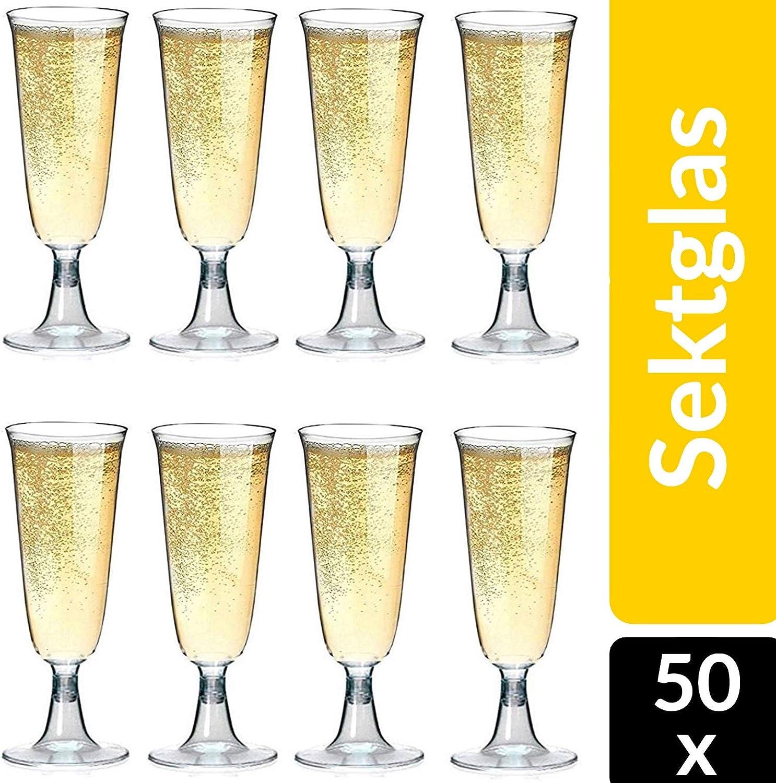 Copas de champán de plástico 50 piezas de copas de champán desechables 0,1l a prueba de rotura - claro como el cristal - altura 16cm: Amazon.es: Hogar
