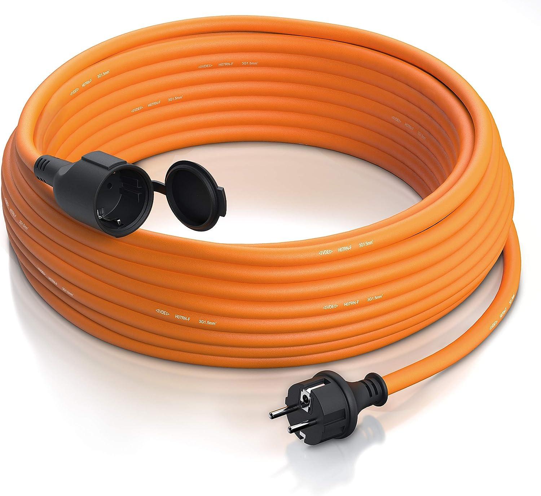 Brandson - Cable alargador Schuko 25m para Exteriores - MAX 3500 W - IP44 - Enchufe con Tapa Protectora - Cobre Revestimiento Flexible de Goma - Resistente a Lluvia Impactos, aceites, UV