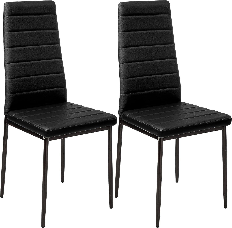 TecTake Set de sillas de Comedor 41x45x98,5cm cantidades - (2X Negro | No. 401838)